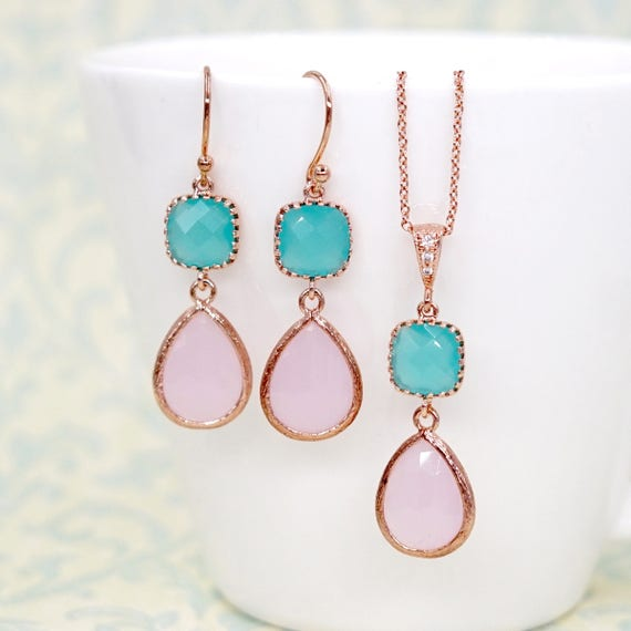 Pink teardrop Mint cushion Rose Gold Earrings| Brides Bridesmaid Blush Jewelry Wedding Something Blue | Gifts for her bff wife mom E297 N220