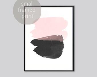 Abstract watercolor, wall art print, watercolor, Pink and black watercolor, abstract watercolor print, watercolor art, Prints Framed, small