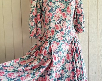 Vintage Laura Ashley Dress | Pink Rose Cotton Dress | Prairie Dress Size USA10, EU38, UK12 | Floral Summer Dress | Puffed Sleeves Tea Dress