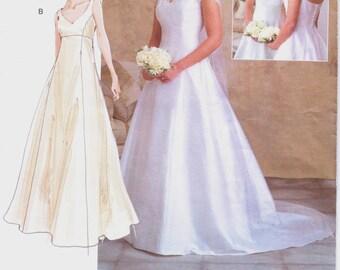 Plus Size Womens Empire Waist Wedding Gown Vogue Sewing Pattern V2788 Size 18 20 22 Bust 40 42 44 UnCut Vogue Bridal Original