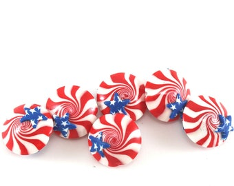 polymer clay lentil beads, USA flag beads, Independence Day, stars and stripes beads, American flag beads, patriotic beads, 4th of July