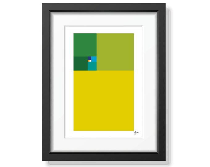 Fibonacci Spring [mathematical abstract art print, unframed] A4/A3 sizes