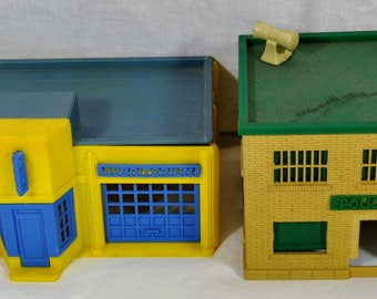 Pair of Vintage Plastic Marx Houses - Police Department and Auto Service Center - Lubritorium, Washing, Riot Squad,