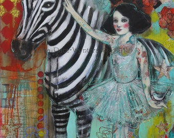 ACEO art reproduction by Maria Pace-Wynters - Ephemera And The Zebra