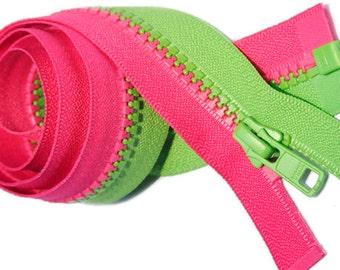 "36"" Multi Colored YKK Vislon Zipper Multi Color Jacket (Special Decorating Zipper)YKK 5 Molded Plastic - Separting - Any 2 Color Combination"