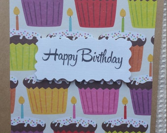 Birthday Card/Cupcakes/Candles/Happy Birthday
