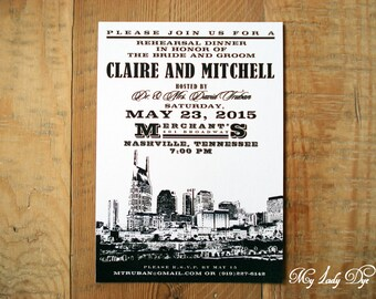 25 City Skyline Rehearsal Dinner Invitations Nashville Wedding Invitation - By My Lady Dye