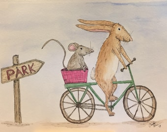 Original Watercolor and Ink - Rabbit and Mouse Go to the Park 6x8
