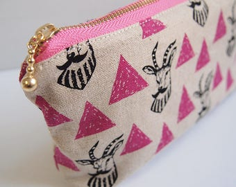 echino Zipper Pouch / Pencil Case Made with Japanese Fabric