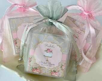 Gray and Pink Bridal Shower Favors, Baby shower favors, Tea Party, set of 10 soap favors