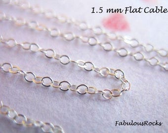 Sterling Silver Chain per foot, Flat Cable Link,  2x1.5 mm / 925 SS Wholesale Chain, 15-45% Off Bulk Chain, delicate dainty tiny  ss s88 hp