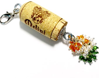 Kiss Me I'm Cabernet color-burst cork floating keychain with Swarovski crystals