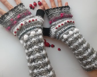 Women Size M 20% OFF Ready To Ship Bohemian Fingerless Mittens Cabled Striped Hand Knitted Gloves Warm Accessories Wrist Warmers Winter 1218