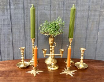 Vintage Lot of Brass Candle Stick Holders, Hollywood Regency, Boho. Wedding, Midcentury Brass Candle Holders