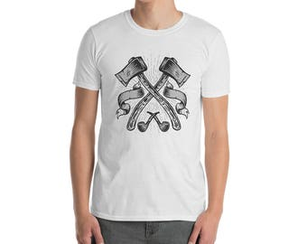 Dual Axes T-Shirt for Lumberjacks and Timber Framers  Short-Sleeve Unisex T-Shirt