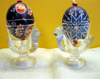 French Clear Glass Chicken Shaped Egg Cups