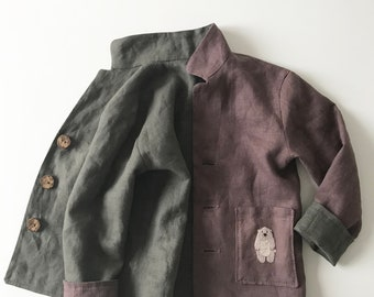 boy's jacket, Linen , Safari , Washed Linen, Hand Embroidery, Organic Kids Clothing, Little_Alice_linen