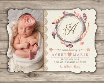 20 Prints Boho Birth Announcements Baby New Born photo introducing Shabby Chic Arrow Tribal baby Picture announcement photography Prints