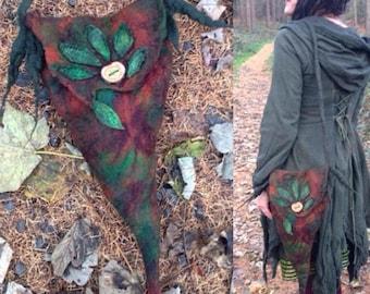 The 'Forest Sprite' Woodland Faerie Bag, Felted LARP Elf Bag with Embroidered Felt Leaves