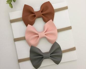 Baby Girl Headbands/Set Of 3/ Leather Bow/ Nylon Headbands