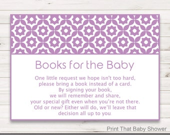 Baby Shower Invitation Insert - Books For Baby - Baby Shower Inserts, Printable Invitation Insert, Books For The Baby Card, Purple Geometric