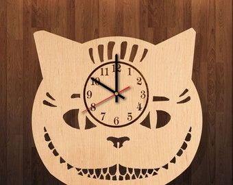 Cheshire Cat Alice In Wonderland Handmade Natural Wooden Wall Clock Great Gift