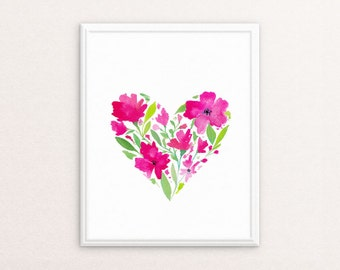Printable Nursery Wall Art ⇼  Watercolor Floral Heart Print ⇼ Nursery Art Heart Print ⇼  Floral Decor, Girls Room Art ⇼  Girl Nursery Art