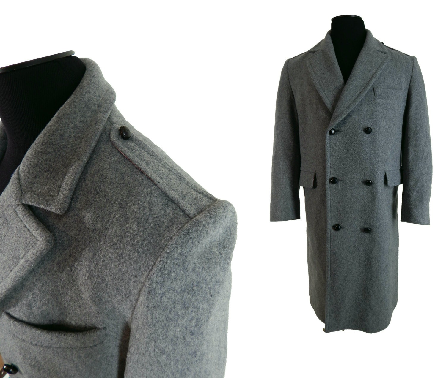 Vintage 70's Mens Fashion Double Breasted Wool Coat Maine Guide by Congress Size 40 o2HUcu