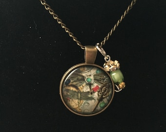 Handmade Steam punk dragonfly Necklace with Charm Pendant