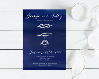 nautical wedding invitation printable invite - tie the knot - boating wedding, yacht wedding, digital DIY, custom personalised, preppy navy
