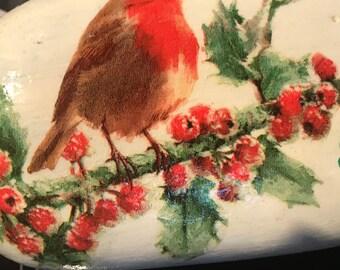 Hand made rockart winter robin