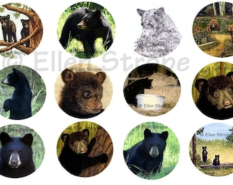 STICKERS, Envelope Seals, Bears, Bear Stickers, Bear Art, Ellen Strope, Repositionable adhesive, gifts, Fun stickers