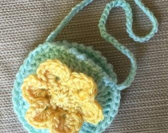 Crochet Doll Purse, American Girl Doll Purse, 18 inch Doll Accessory, Handmade Doll Bag, Gift for Girl, Green Purse, Yellow Flower Purse