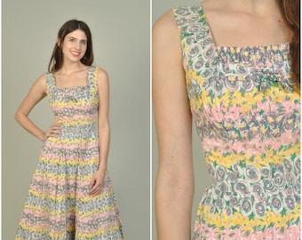 1950s L' Aiglon Pastel Floral Print dress    vintage 1950s dress   floral print cotton 50s dress