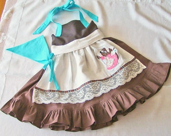 Cinderellas Cleaning Dress & Scarf Toddler Girls Apron Dress with Applique