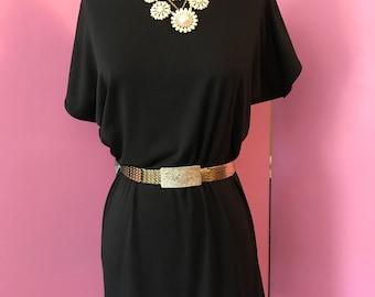Classic shift dress/fab 208 nyc/ classic jersey dress/ chic shift dress, off the shoulder dress, black dress, burgundy dress