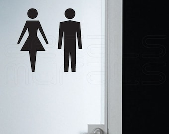 Wall decals FEMALE MALE SYMBOL Stick figure stickers his and hers bathroom sign by Decals Murals