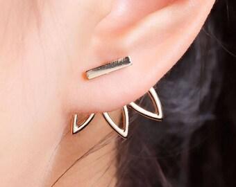 Lotus Flower ear Jacket, Lotus flower earrings,Boho Earrings,Indian Ear pin, flower earrings, posts studs earrings, Yoga style earrings