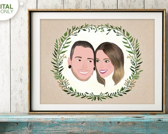 Custom Couple Portrait, Gift for Girlfriend, Save the Date, Couple Illustration, Anniversary Gift, Gift for Couple, Wedding Illustration