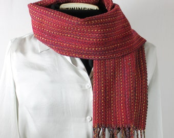 Handwoven Scarf:  Autumn Red
