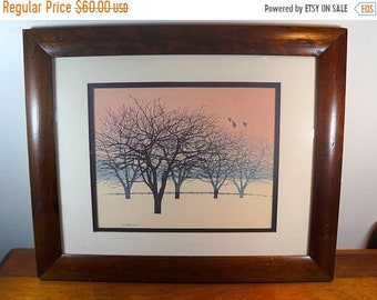 CLOSEOUT John Sovjani 1962 Watercolor Lithograph Bare Trees Distressed Frame