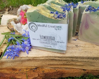 Flowerchild Soap - Natural Soap - Handmade Soap - Handcrafted - Mindfulcreationsbykj - Mindfulcreations - Floral Soap - Exfoliation - Vegan