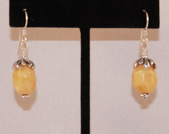 A Pair of Yellow Jade Dangles with Bali Sterling Silver Rose Headpins and Flower Caps