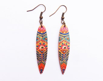 Earrings bamboo leaf painted by hand, lotus was