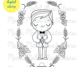 FIRST COMMUNION BOY- digital stamp for scrapbooking, cardmaking