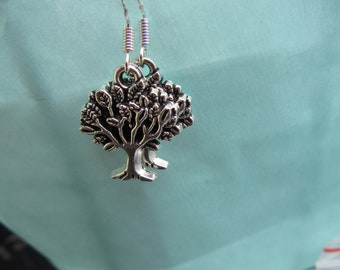 Silver tree of life style drop earrings, Sterling silver ear wires, gift for her, mum, nan, family pagan earrings