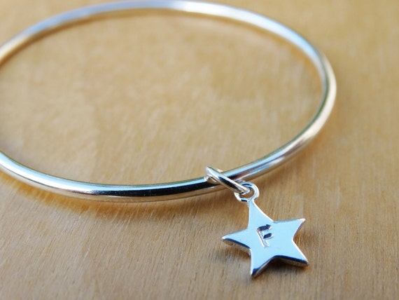 Sterling Silver Childrens Bracelet With Star - Personalised Christening Bracelet