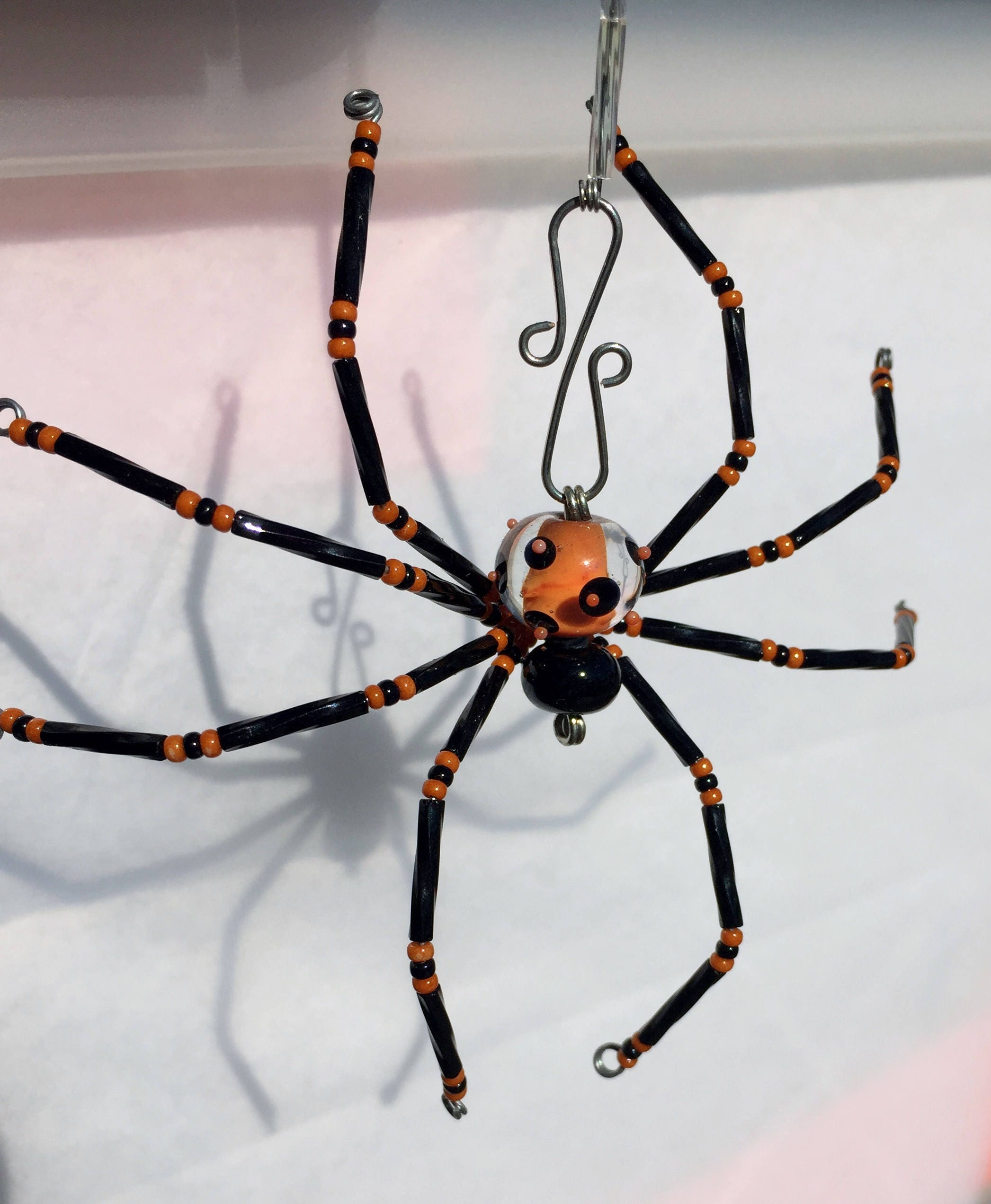 Unique OOAK Lampwork Christmas Spider Ornament handmade glass