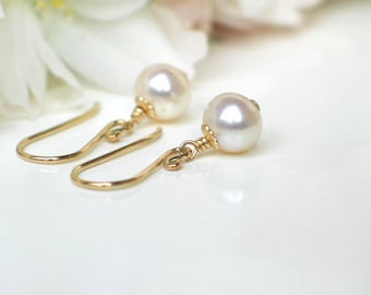 Freshwater Pearl Earrings | 6mm White Pearls | 14k Gold Filled | June Birthstone | Bridal Party Wedding Gift | Simple Petite Pearl Dangles