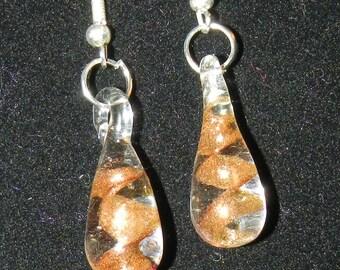 Murano style  OrangeGlass Drop Earrings V6